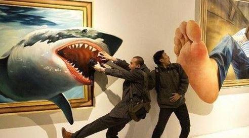 Gambar 1: Mengunjungi pameran seni 3D