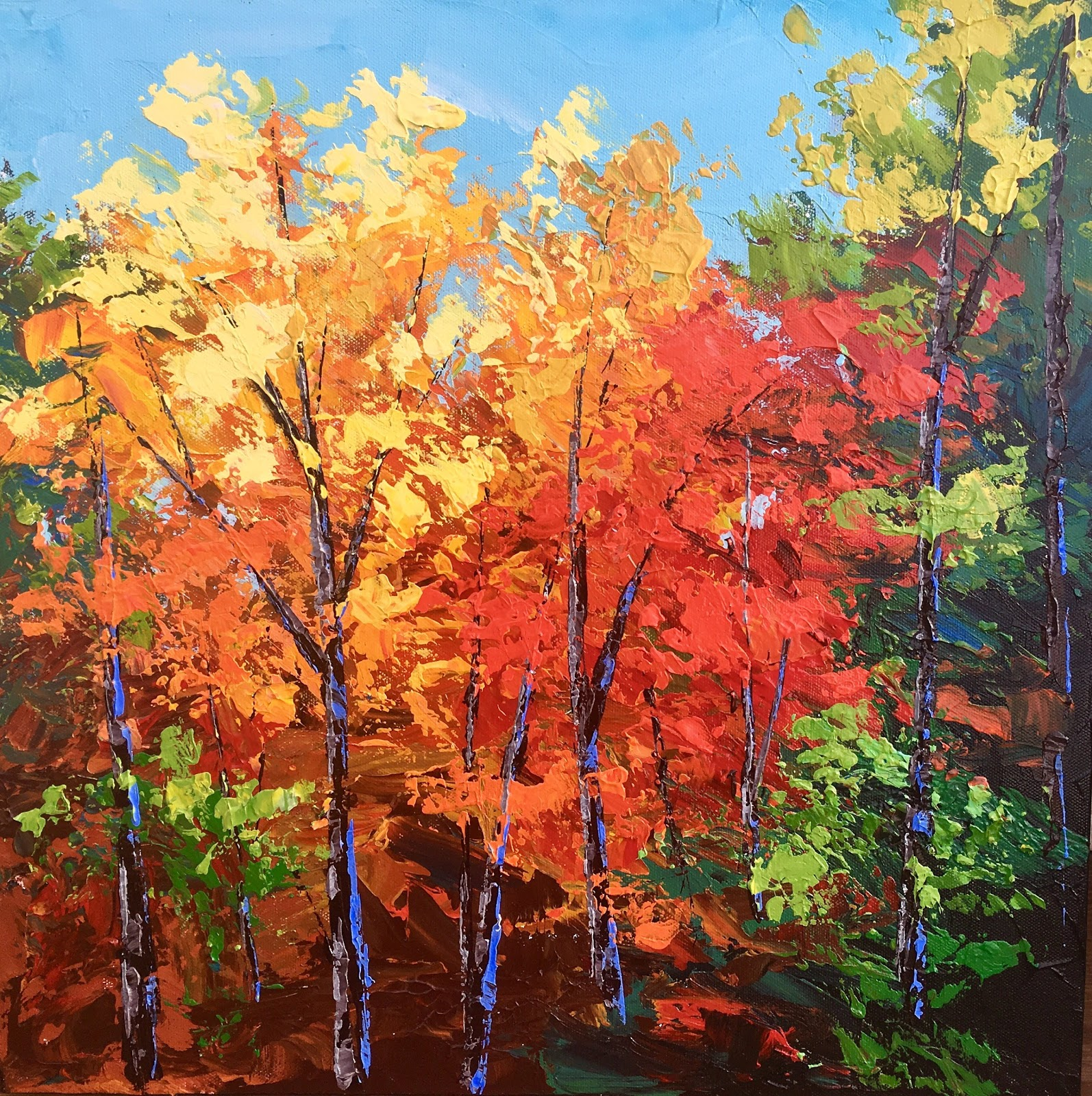 landscape painting of fall trees