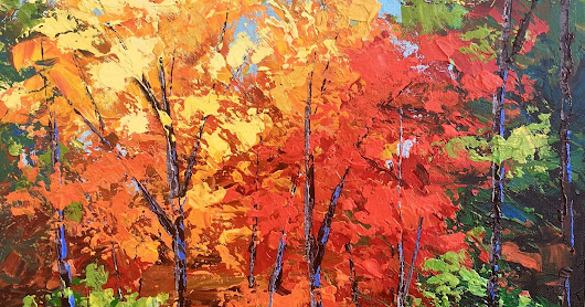 painting of fall trees acrylic landscape
