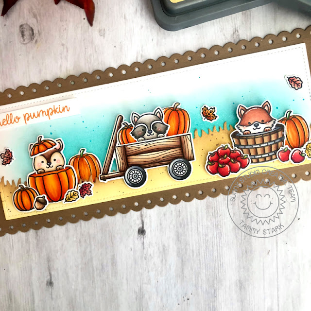 Sunny Studio Stamps: Fall Friends Slimline Dies Fall Themed Card by Tammy Stark