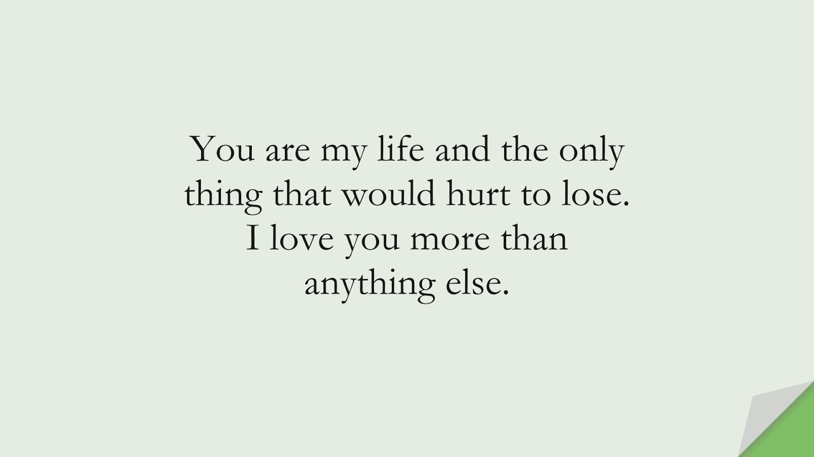 You are my life and the only thing that would hurt to lose. I love you more than anything else.FALSE