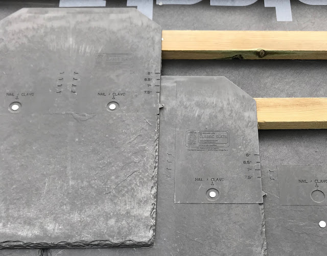 slate tiles on top of roof batten