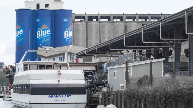 Labatt's painted silos at Buffalo RiverWorks in Western New York