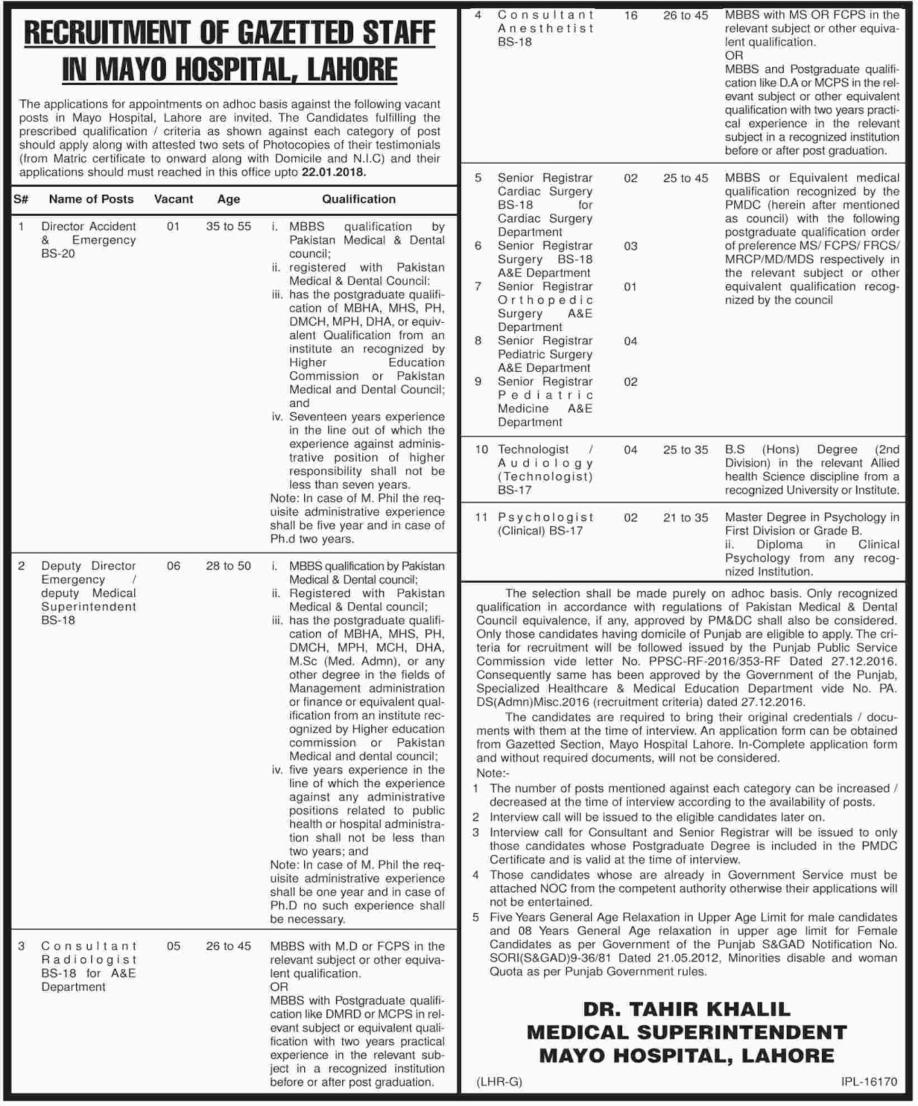 Jobs In Mayo Hospital Lahore Dec 2017