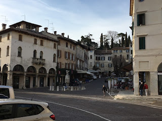 The main square - Piazza Giuseppe Garibaldi - at Asolo in the Veneto, which Browning made his home
