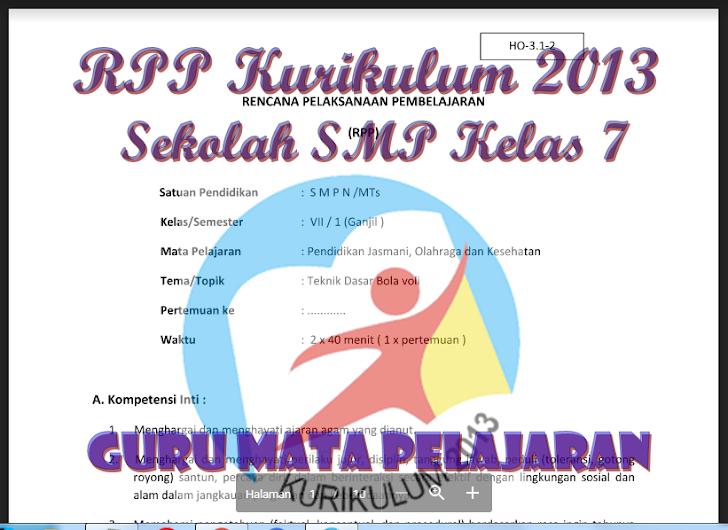 RPP Kurikulum 2013 Sekolah SMP Kelas 7 Guru Mata Pelajaran