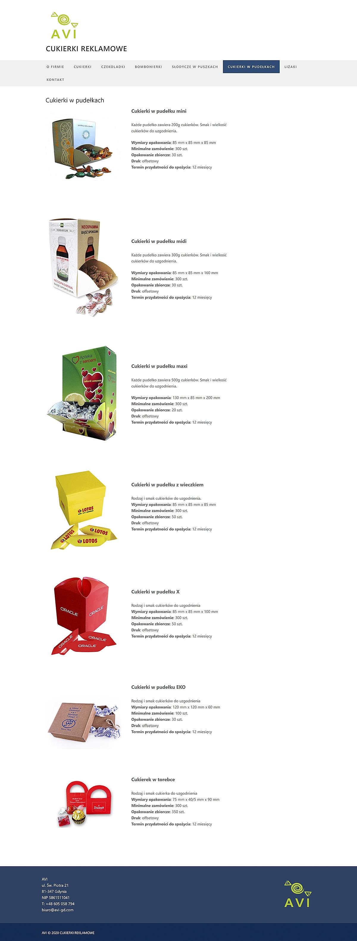 Projekt strony internetowej dla AVI Cukierki Reklamowe