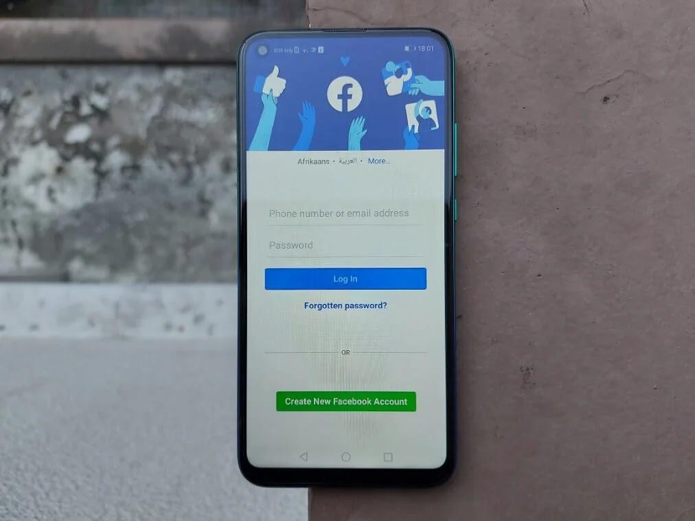 Facebook App on Huawei Y7p