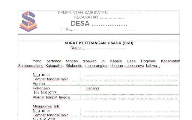 Download Contoh Surat Keterangan Usaha (SKU) Dari Desa/Kelurhan Format Doc