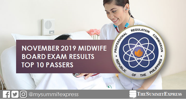 TOP 10 PASSERS: November 2019 Midwifery board exam result