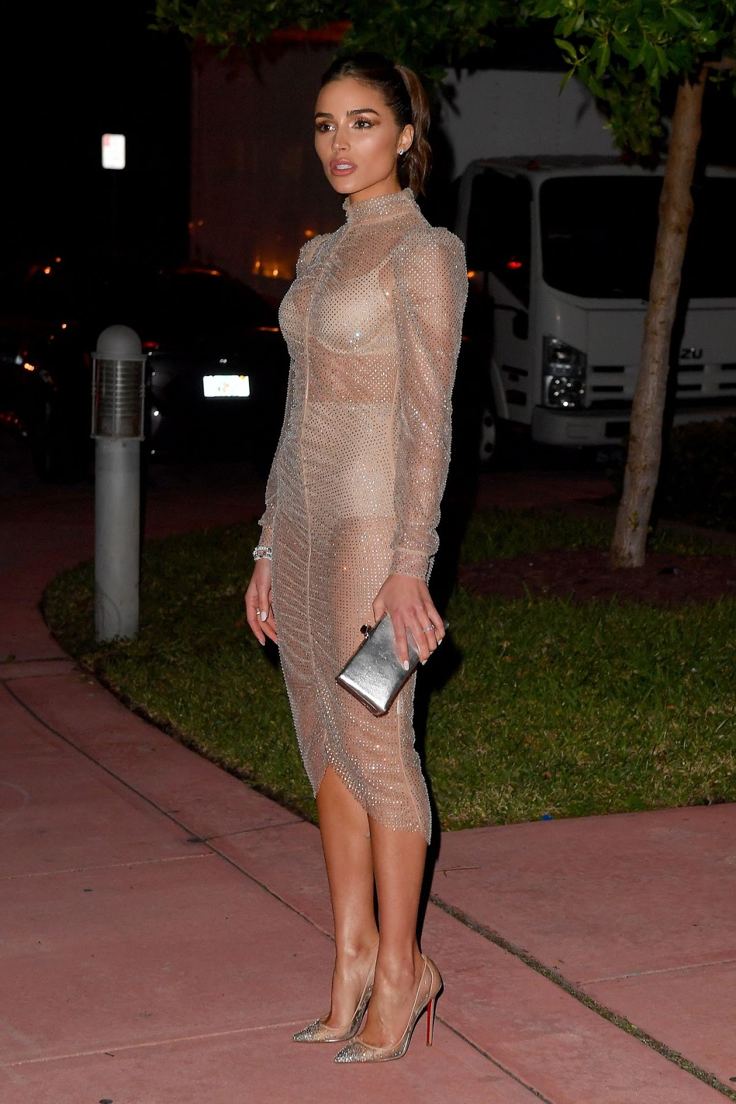 Olivia Culpo puts nude lingerie on show in sheer dress out and about in Miami