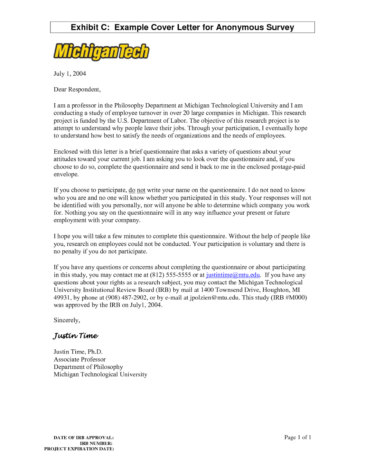 Cover letter for customer satisfaction survey (word)
