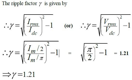 Half-wave rectifier Ripple Factor Derivation