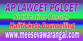 AP LAWCET-PGLCET-2016 Notification Fee-Payment Halltickets Results Final-Key Counselling