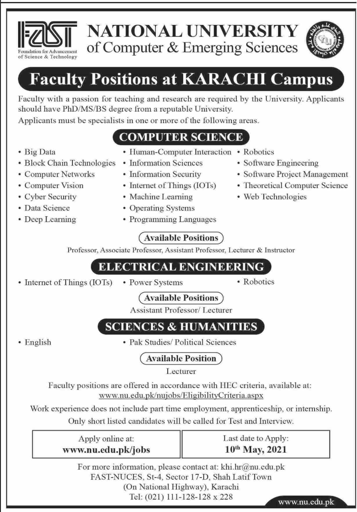 National University of Computer & Emerging Sciences Jobs 2021 in Pakistan