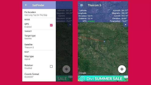 pengaturan aplikasi android satfinder dish pointer