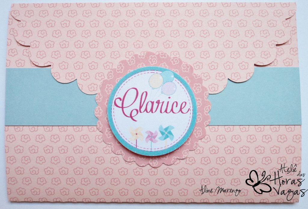 convite artesanal envelope infantil aniversário balões catavento bebê festa rosa azul