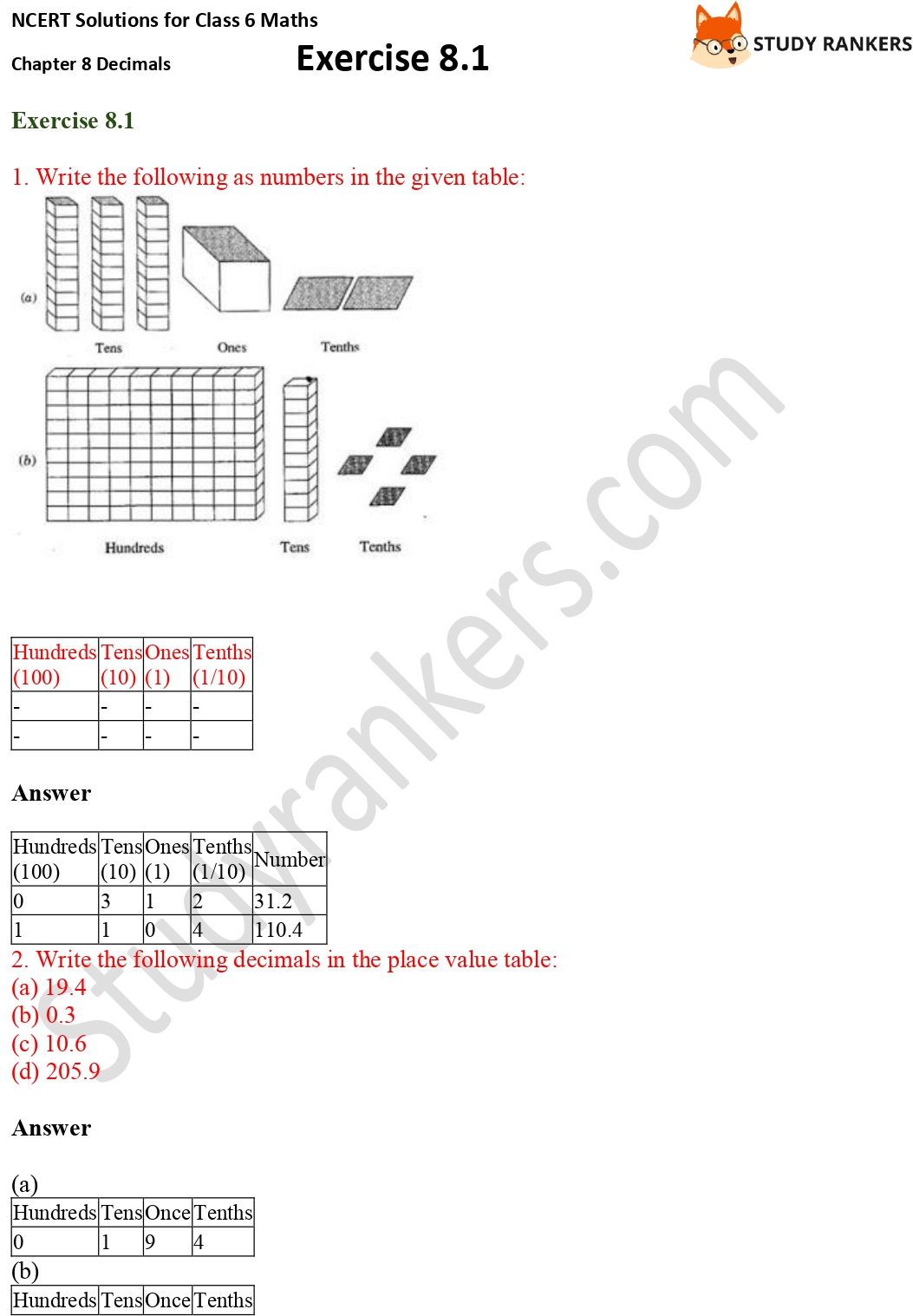 NCERT Solutions for Class 6 Maths Chapter 8 Decimals Exercise 8.1 Part 1