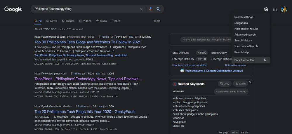 Google Chrome Dark Theme