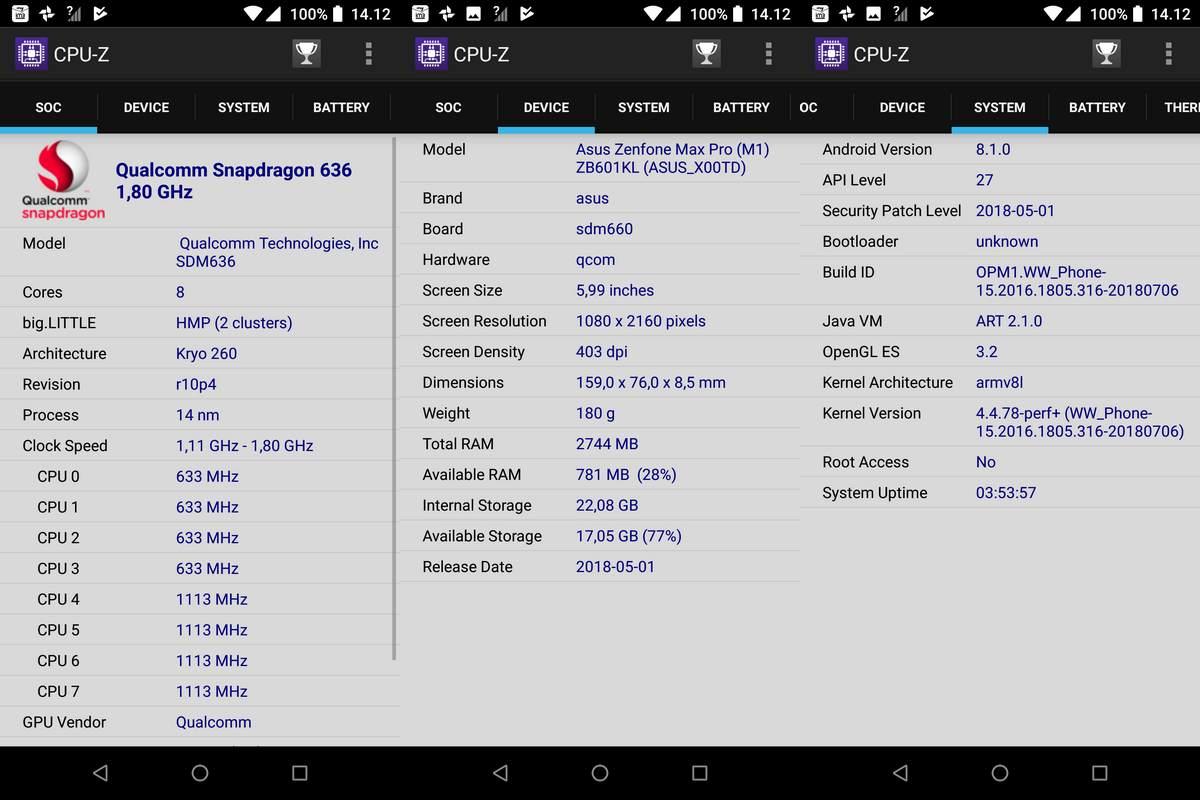 CPU-Z Asus Zenfone Max Pro M1
