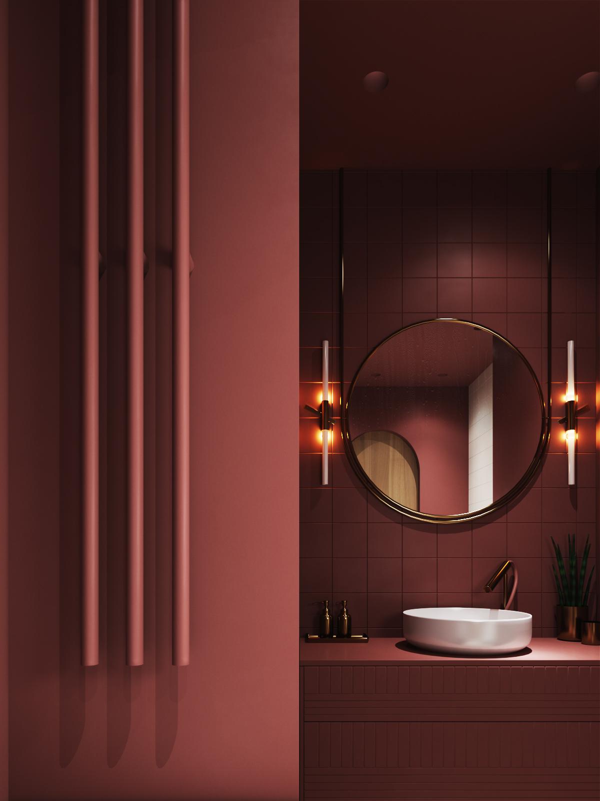 une salle de bains aux tons burgundy pour toutes les surfaces