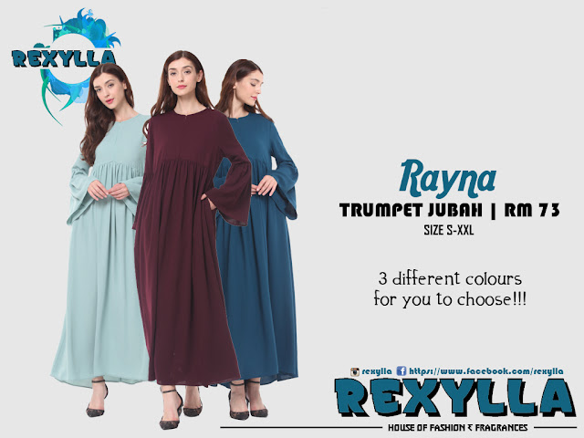 rexylla, loose trumpet, trumpet jubah, loose trumpet jubah, rayna collection