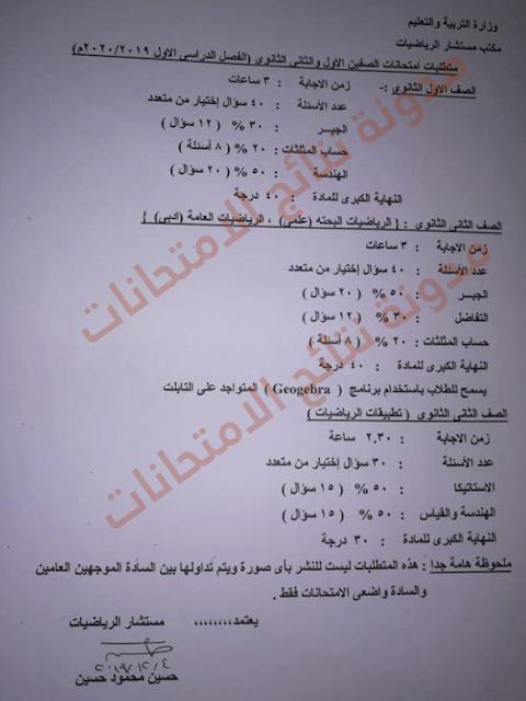 مواصفات الورقة الامتحانية للصف الأول والثاني الثانوي بالمواد 2019 - 2020 (عدد الاسئلة والدرجات وزمن الامتحان)