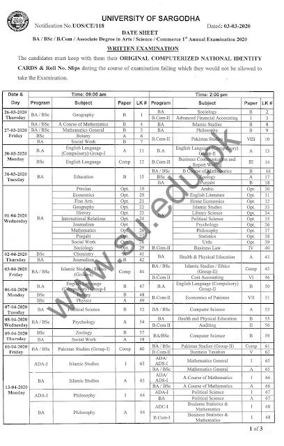 """BA 1st Annual 2020 Date Sheet Sargodha University""BSC 1st Annual 2020 UoS Date Sheet"""