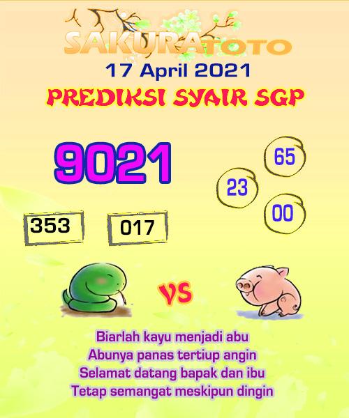 Syair SGP Sabtu 17 April 2021 -