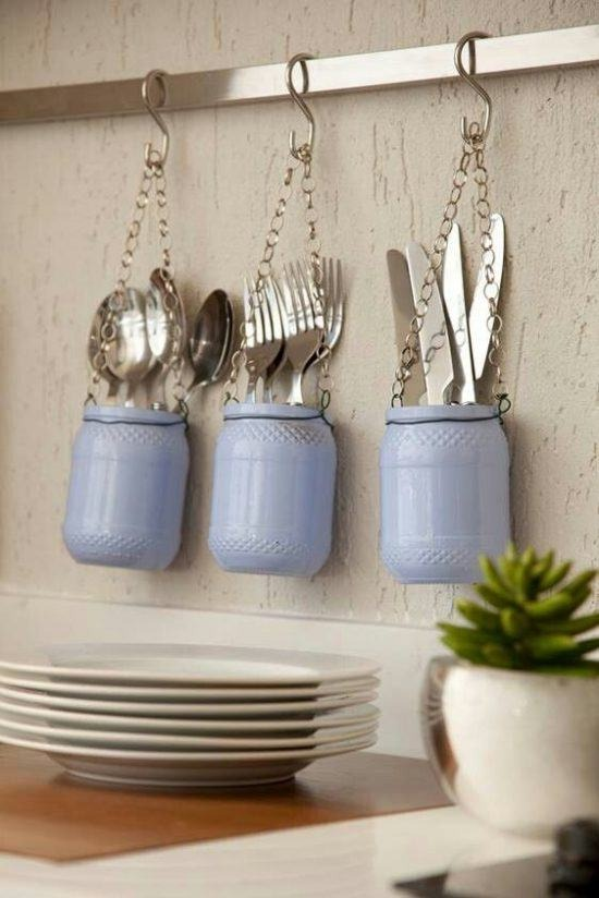 Easy crafts with blue glass pot
