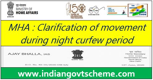 Clarification of movement during night curfew period