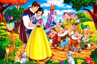Dibujo del cuento Blancanieves y los siete enanos a colores