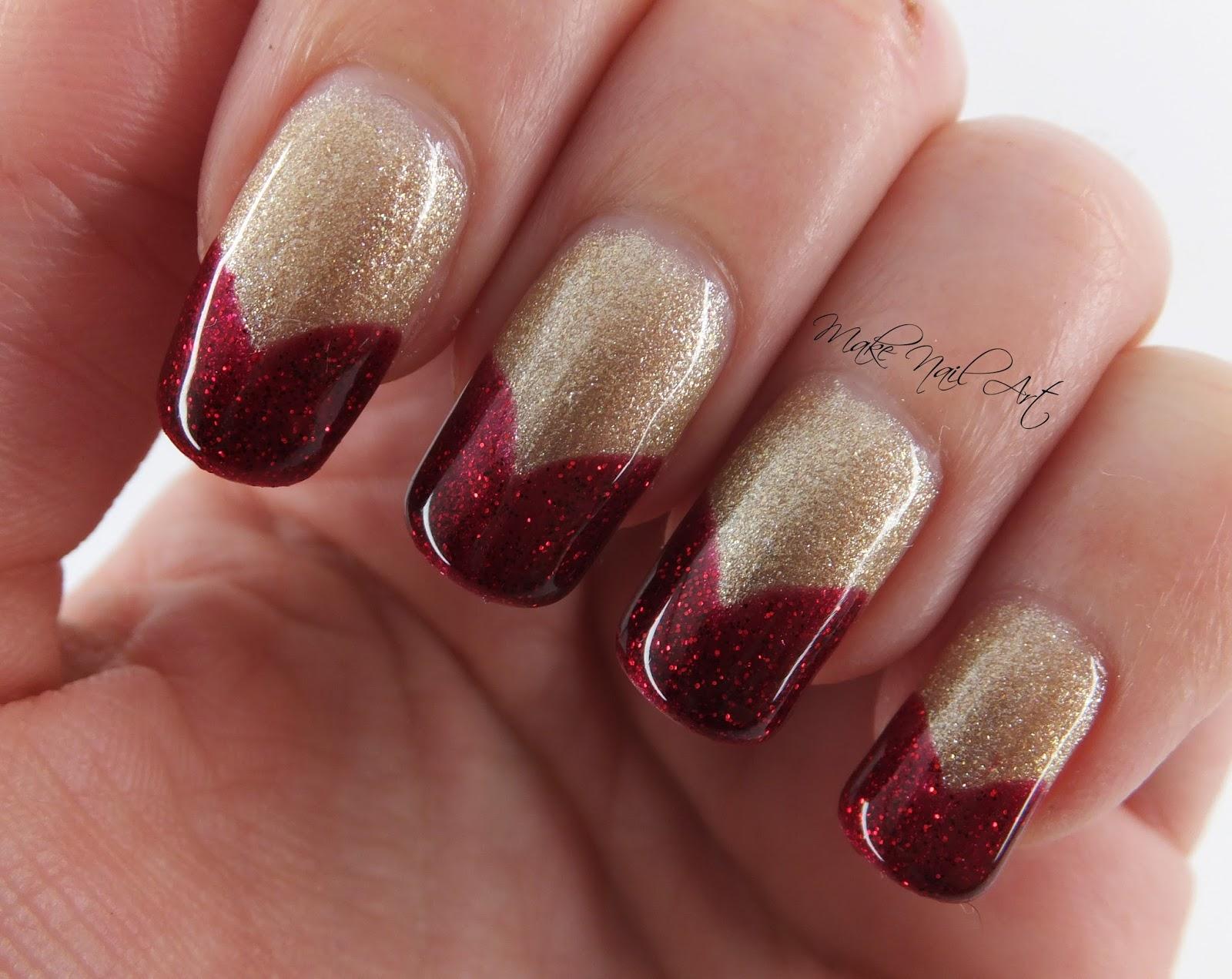 Make Nail Art: Red And Gold Glitter Gel Polish French Manicure Nail ...