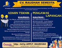 Loker Surabaya di CV. Raudhah Semesta Malang Jawa Timur Januari 2021
