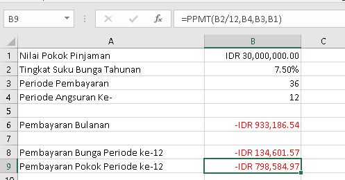Menghitung cicilan pokok pinjaman dengan excel