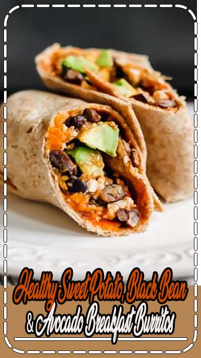 Healthy breakfast burritos stuffed with sweet potatoes, black beans, eggs and avocado. You're going to love this protein-packed breakfast that's freezer-friendly and great for meal prep. #mealprep #breakfast #breakfastburritos #eggs #healthybreakfast #sweetpotato