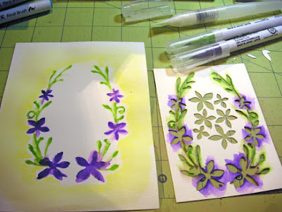 dies as stencils color with watercolors step 5