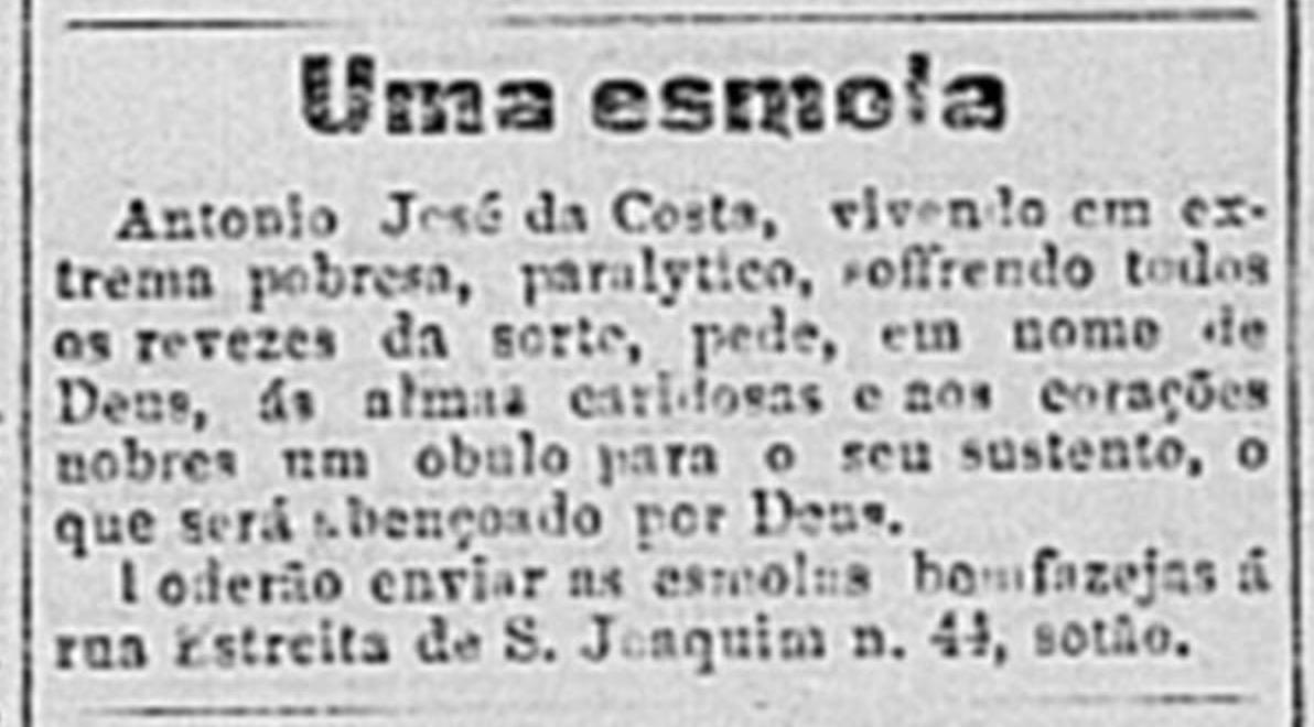 Anúncio solicitava esmola a um homem da cidade do Rio de Janeiro em 1899