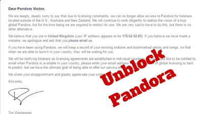 Unblock Pandora Radio outside USA, Australia and New Zealand