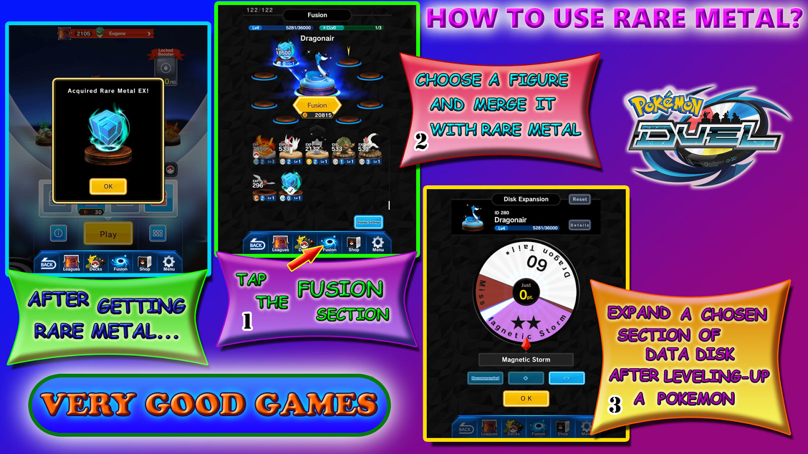 very good games cubes ingots and rare metal in pokemon duel