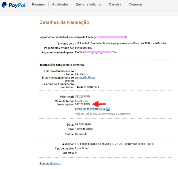 Paypal Pagamento Adfly