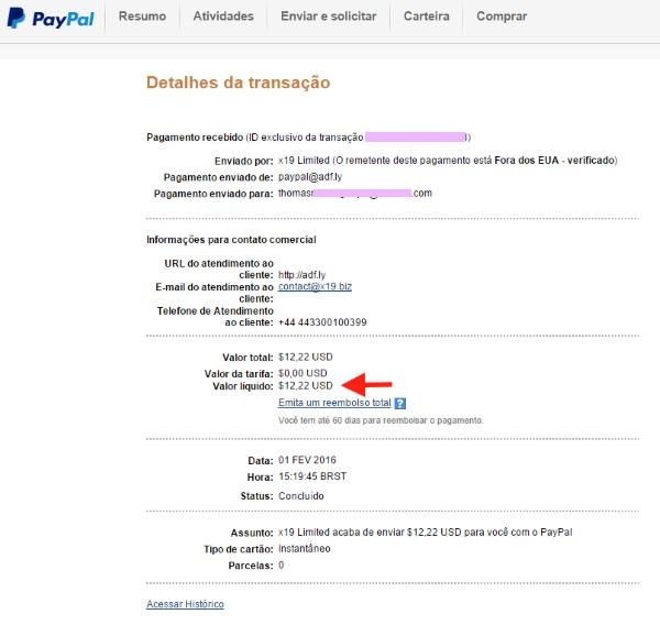 Paypal Pagamento Adfly
