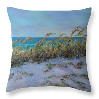 Beach Home Decor of Coastal Throw Pillow with Sea Oats and beach
