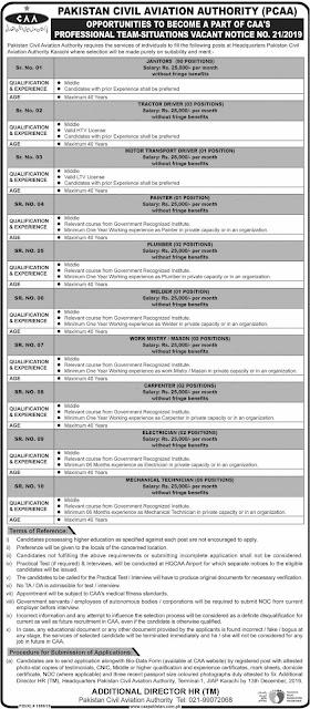 CAA New Jobs 2019 Pakistan Civil Aviation Authority Download Application Form