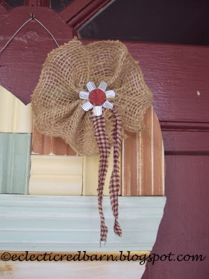 Eclectic Red Barn:  My Unordinary Valentine with Burlap flower