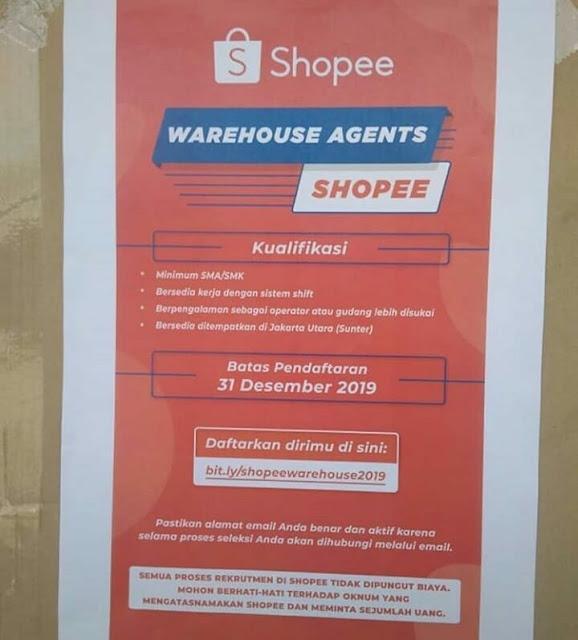 Lowongan Warehouse Agent Shopee Oktober 2019 Serangid