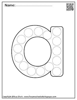 Letter A dot markers free preschool coloring pages ,learn alphabet ABC for toddlers