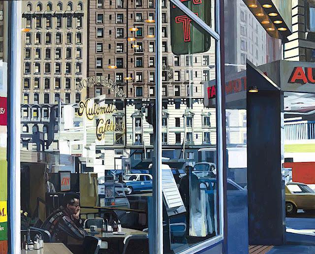 Richard Estes art, an urban restaurant