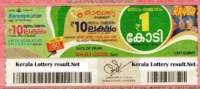 Kerala Lottery Result 04-01-2020 Karunya KR-429