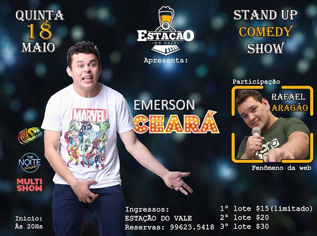 Stand Up Comedy com Emerson Ceará no Estação Vale em  Registro-SP (18/05)